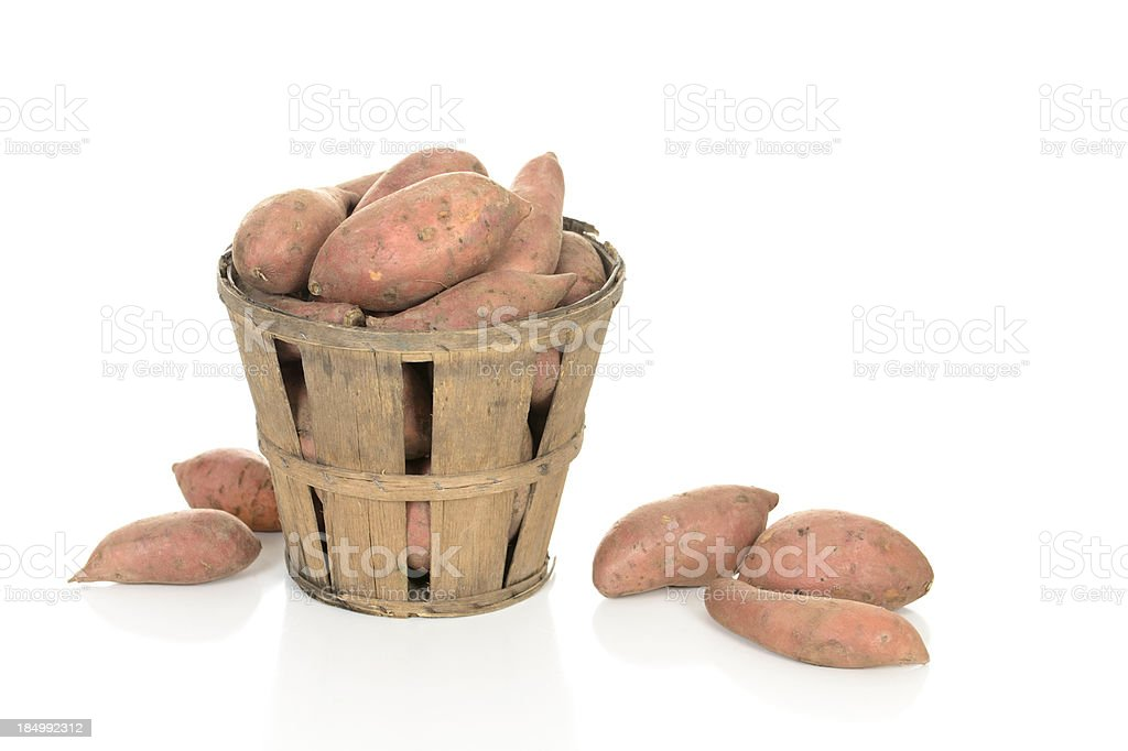 Sweet Potatoes in a Rustic Basket royalty-free stock photo