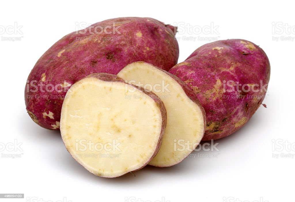 Sweet Potatoes with slices stock photo