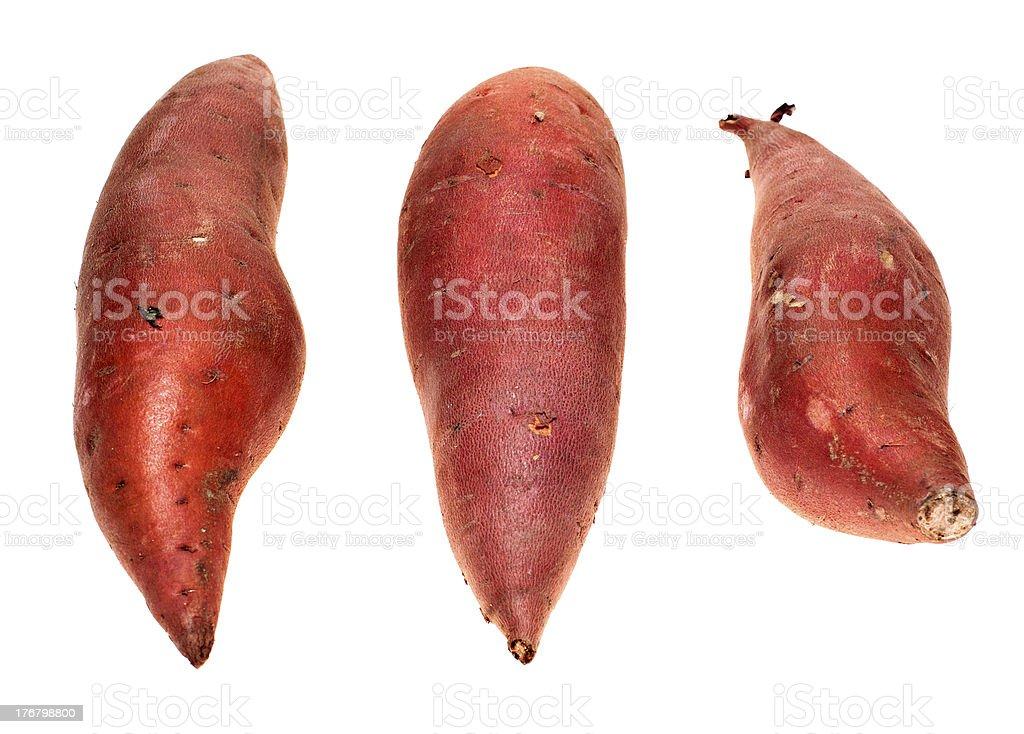 Sweet Potatoes Yams,  Isolated on White royalty-free stock photo