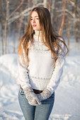 sweet pretty girl in winter park