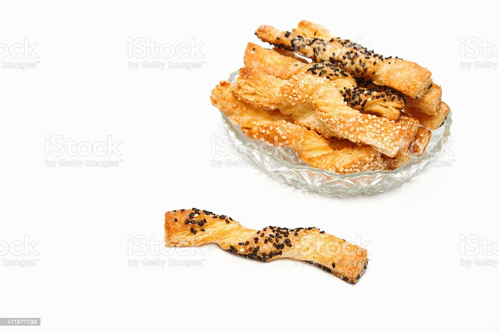 sweet puff pastry sticks  with sesame seeds royalty-free stock photo