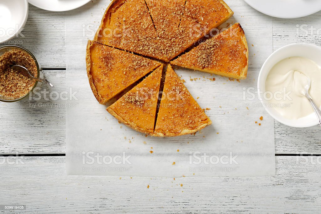 sweet pumpkin tart stock photo