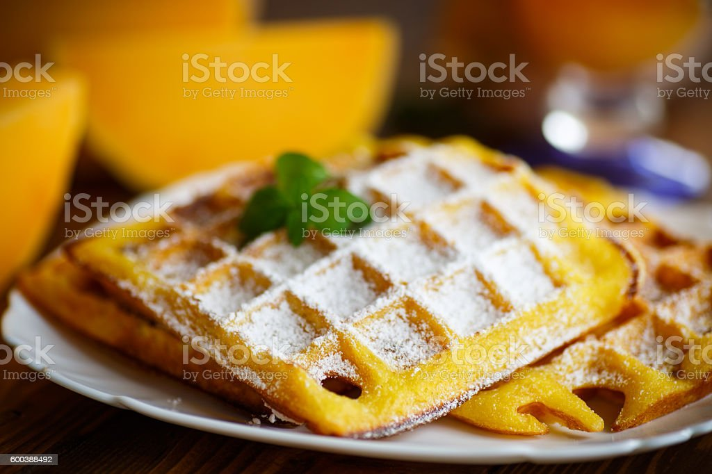 sweet pumpkin waffles on the plate stock photo