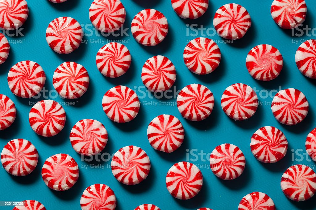 Sweet Red and White Peppermint Candy stock photo
