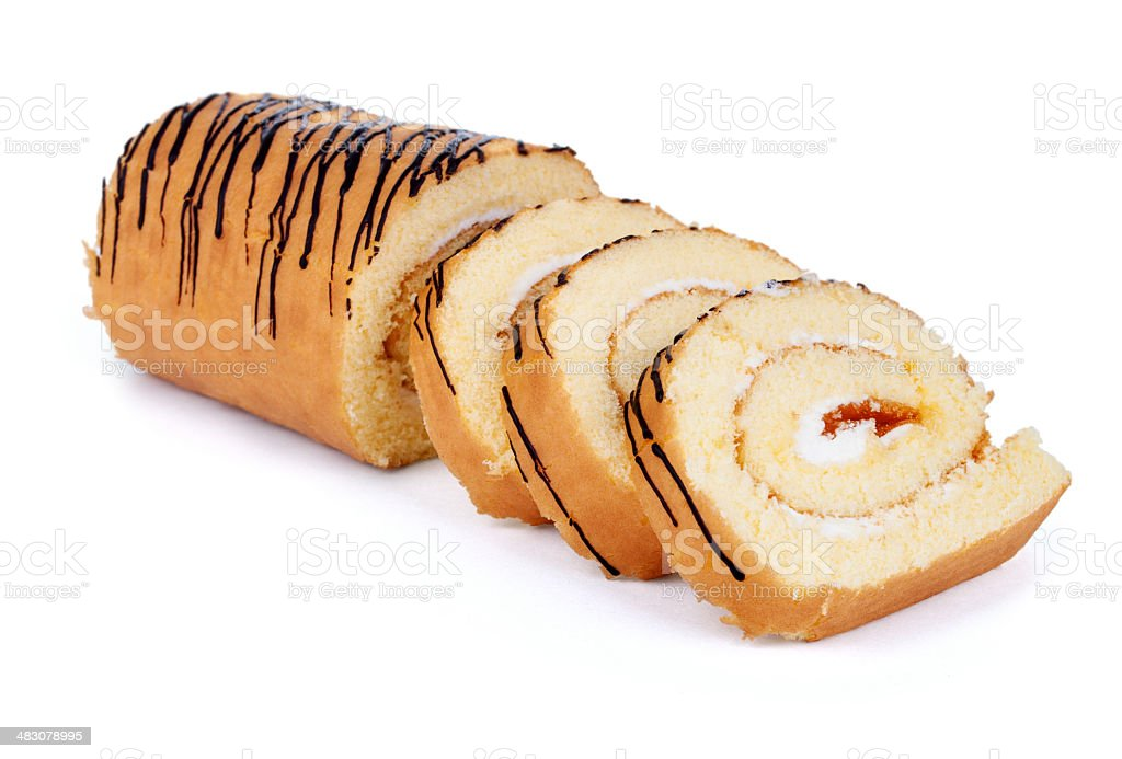 Sweet roll cake isolated on white background stock photo