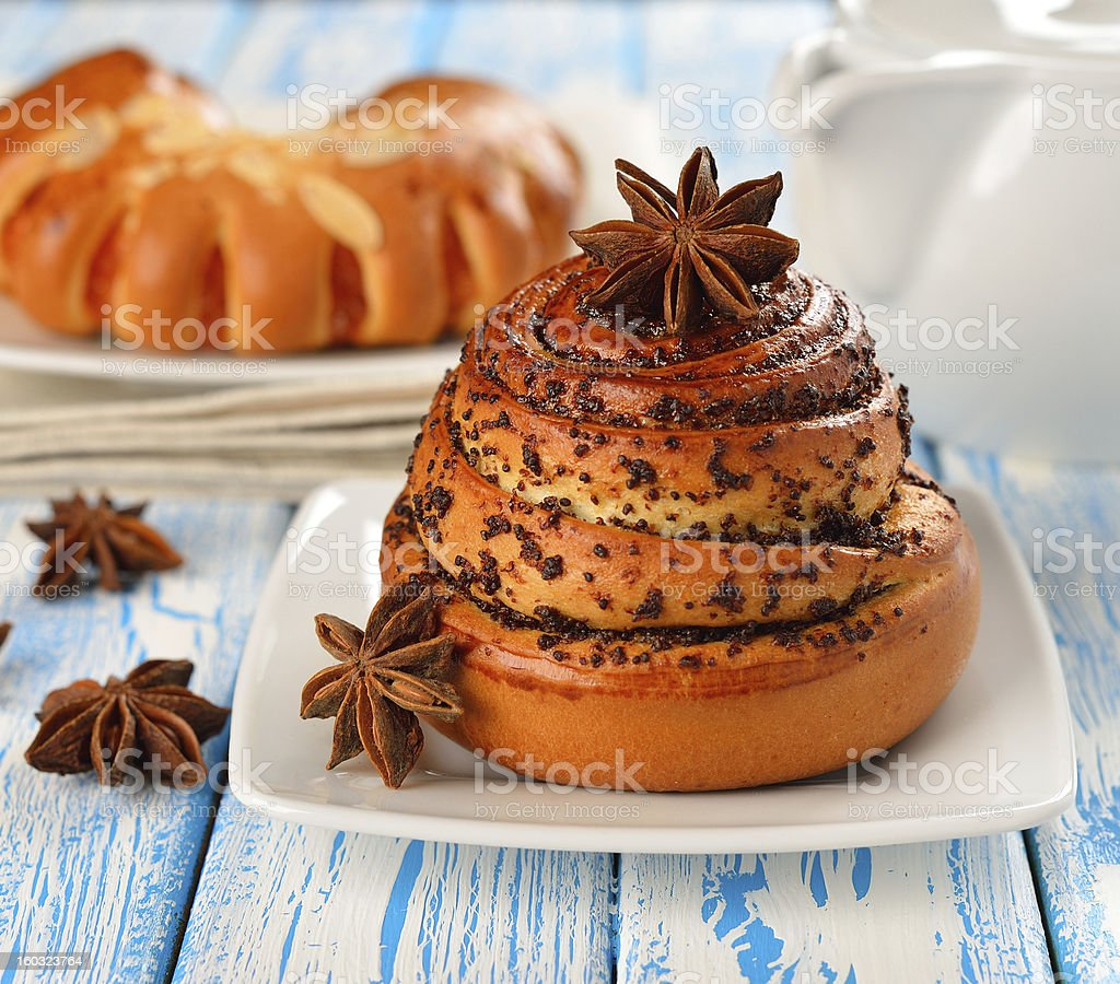 Sweet roll with a poppy royalty-free stock photo