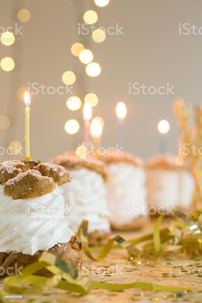 Sweet row of puffs stock photo