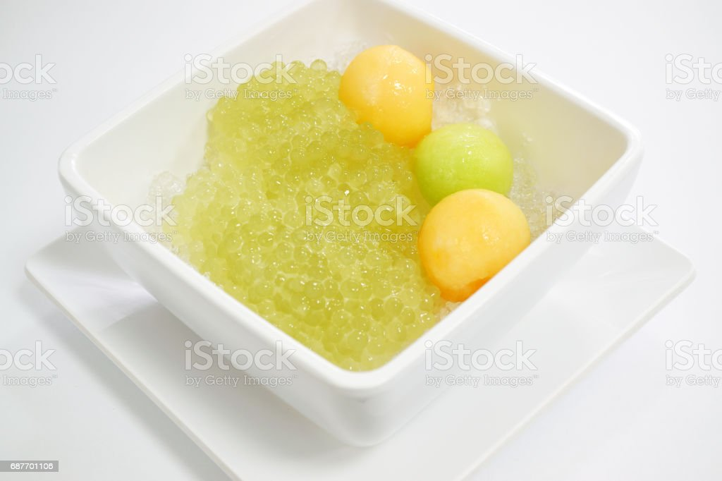 Sweet Sago and Cantaloupe with syrup Thai Dessert stock photo
