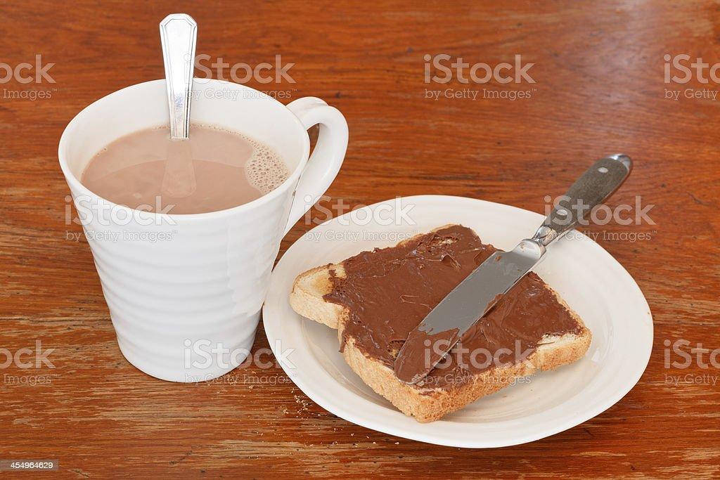 sweet sandwich - toast with chocolate spread stock photo