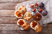 Sweet sandwiches with fig jam and cream cheese close-up. horizontal