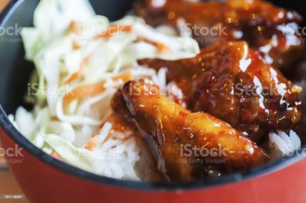 Sweet Sauces chicken with Rice stock photo