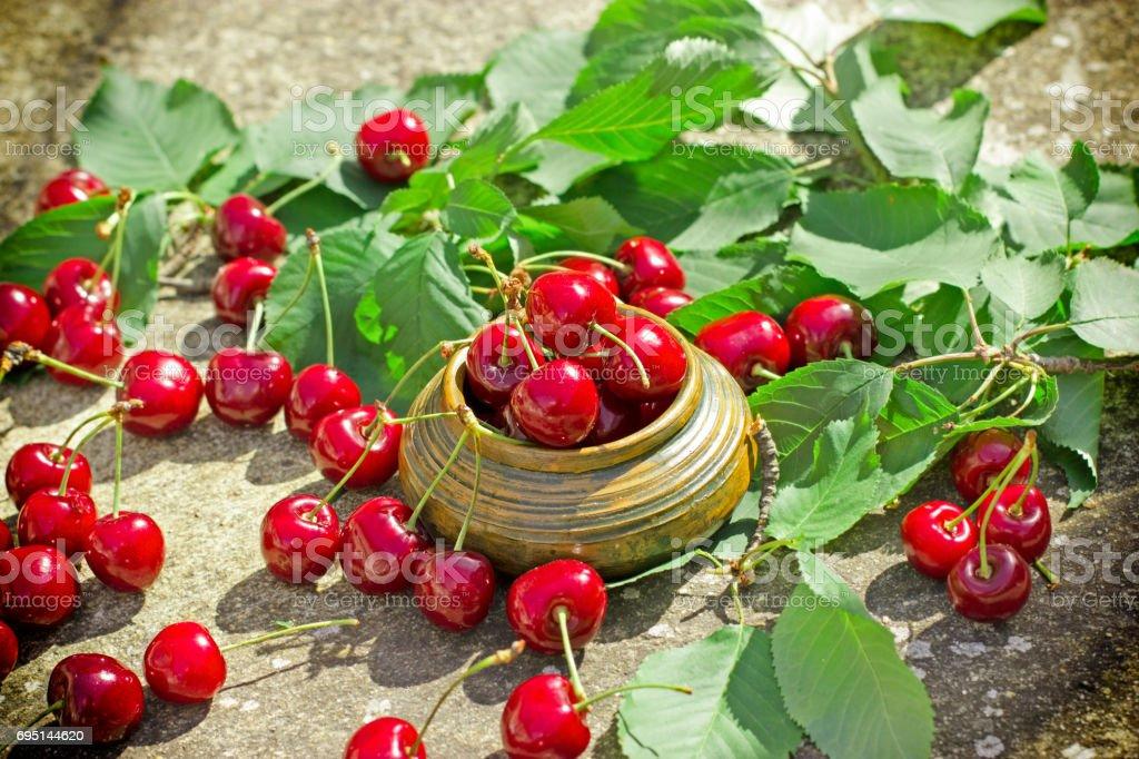 Sweet sherry - organic berry fruit stock photo