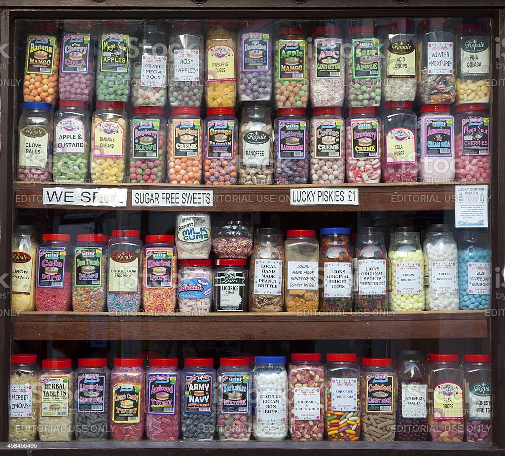 Sweet shop window display stock photo
