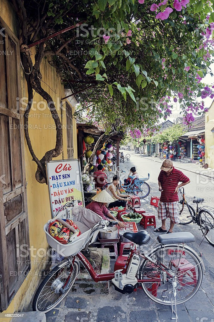 Sweet soup on pavement in Hoi An Town, Vietnam royalty-free stock photo