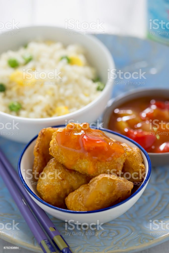 Sweet sour chicken with rice stock photo