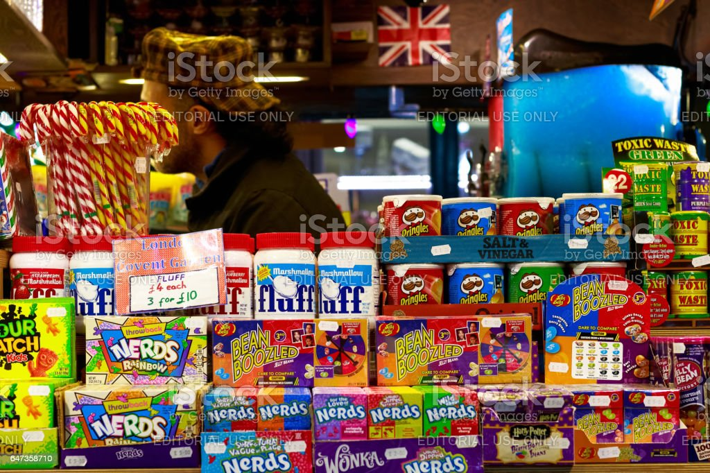 A sweet stall at Covent Garden stock photo