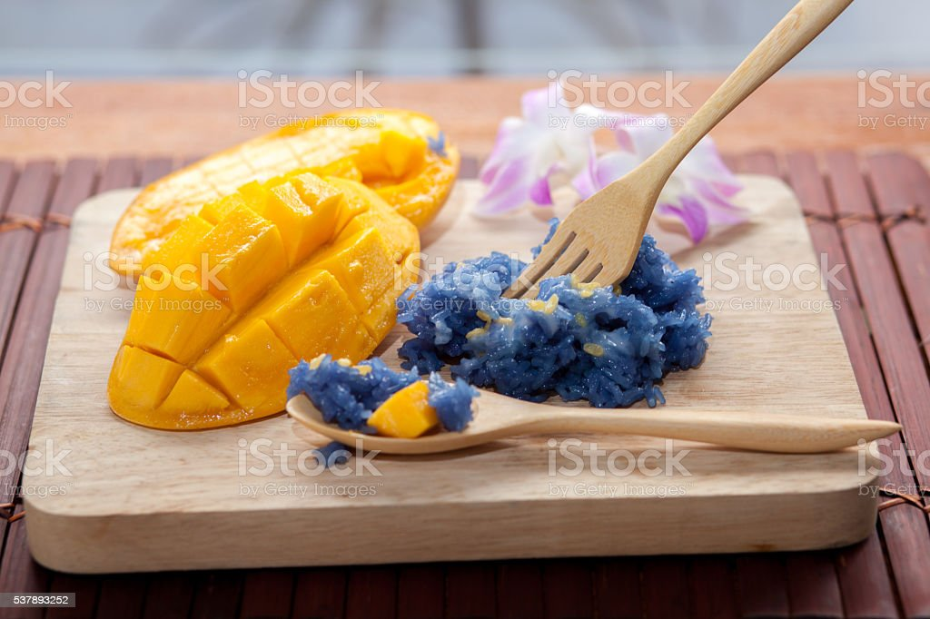 sweet sticky rice pea with mango stock photo