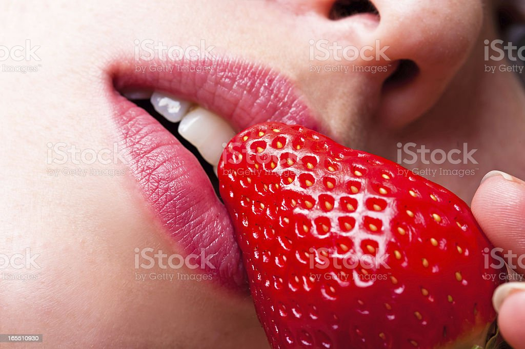sweet strawberries and lips royalty-free stock photo
