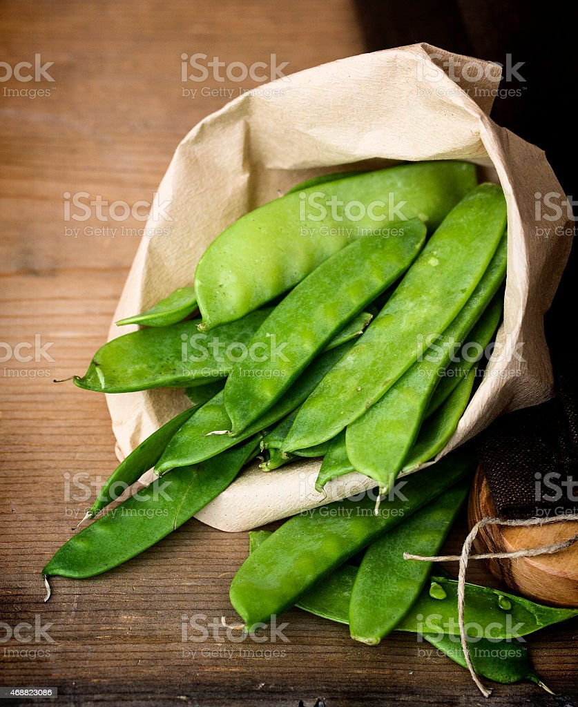 Sweet sugar snap peas in the pod. stock photo