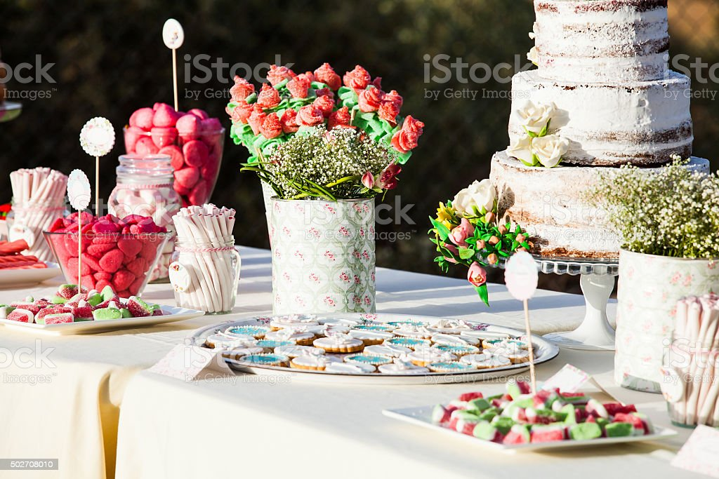Sweet table decor. Wedding detail. stock photo