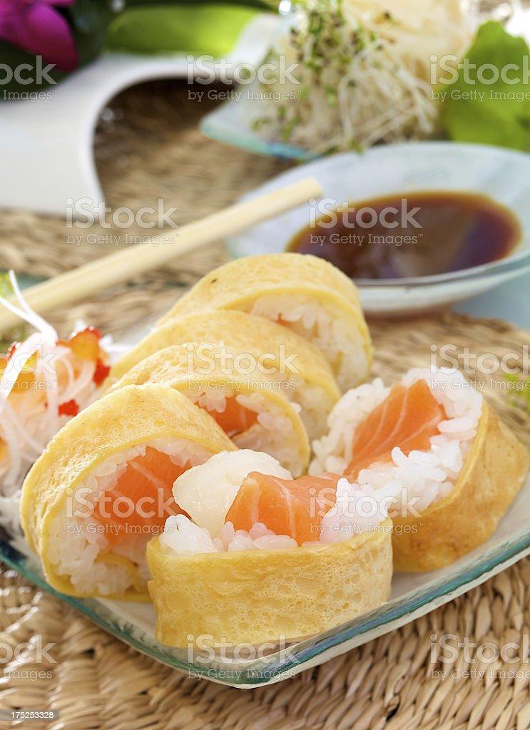 Sweet tamago futomaki sushi stock photo