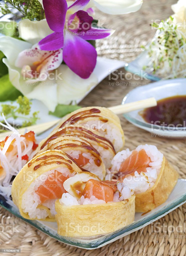 Sweet tamago futomaki sushi royalty-free stock photo