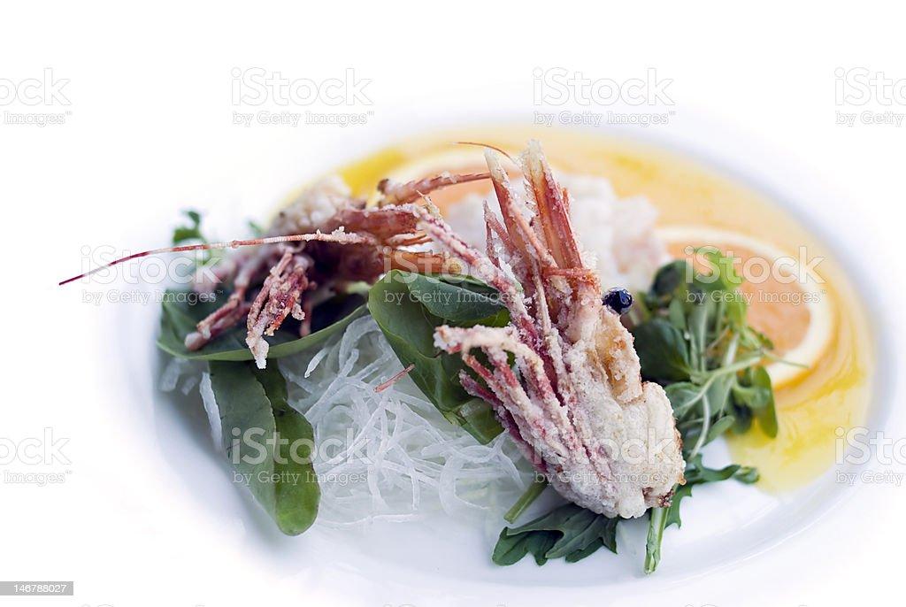 Sweet tempura shrimp heads royalty-free stock photo