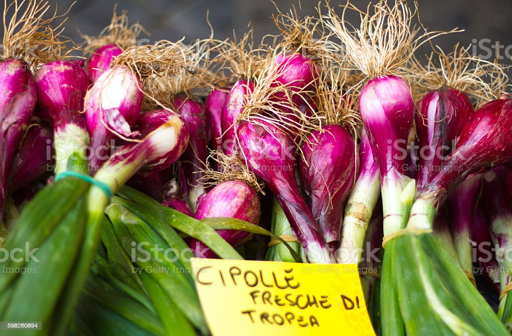 Sweet Tropea Red Onions at Market, Italy (Close-Up) stock photo