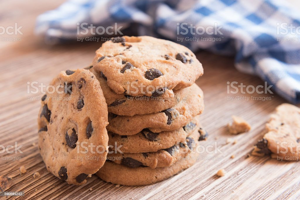 Sweet vegan crisp cookies with chocolate drops. stock photo