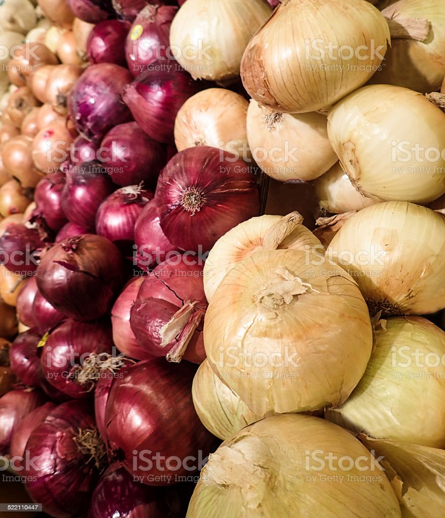 Sweet Vidalia Onions and Red Onions stock photo