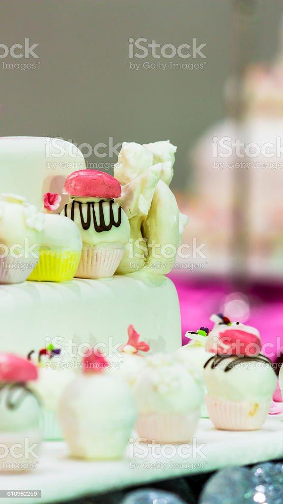 Sweet wedding cupcakes. stock photo