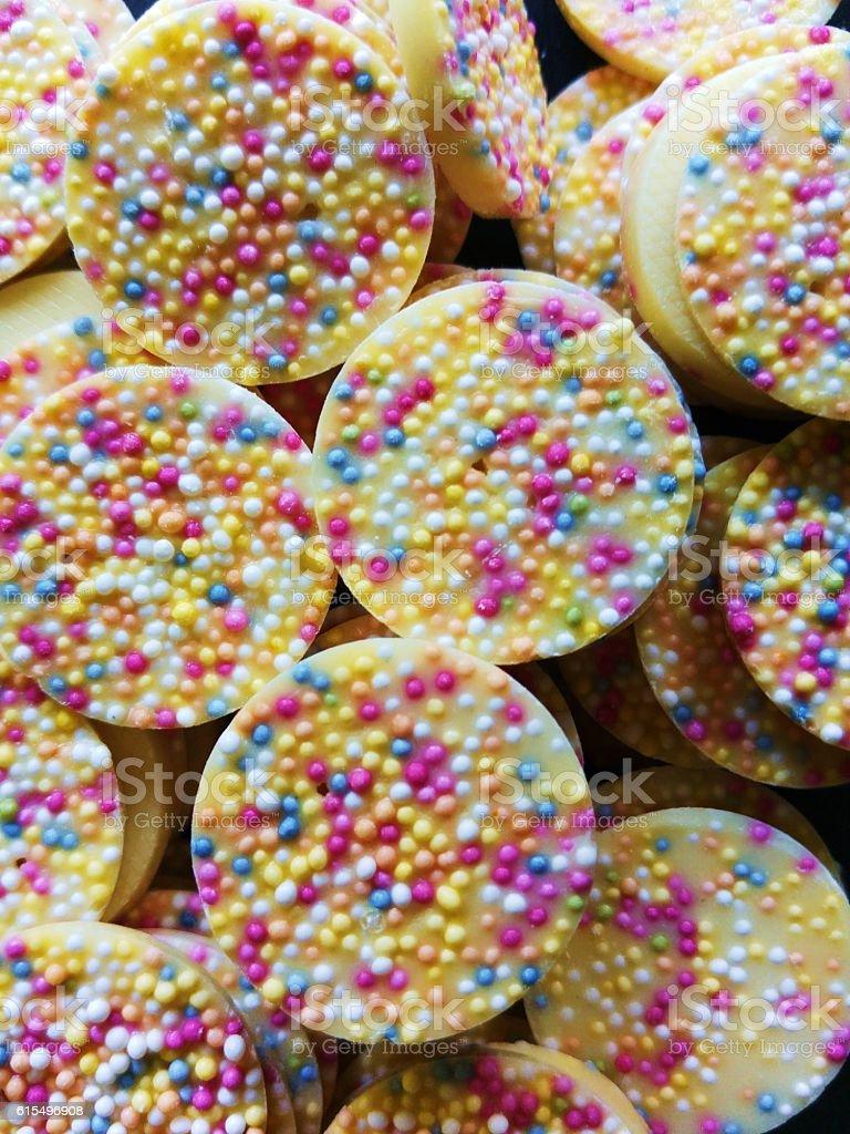 Sweet white chocolate candy stock photo