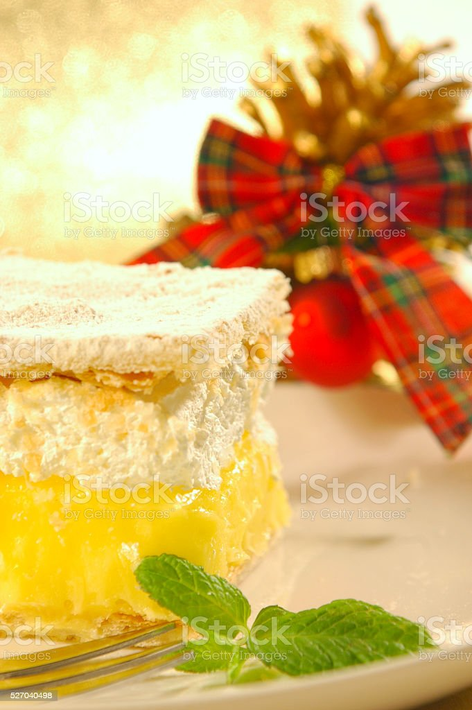 Sweet Xmas dessert with lemon mint stock photo