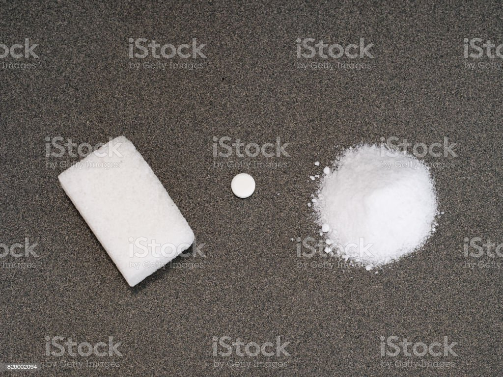 Sweeteners. Choice. Sugar, aspartame or artificial sweetener. stock photo