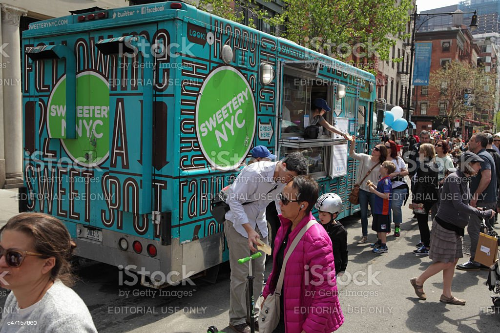 Sweetery NYC food truck on Greenwich Street in TriBeCa NYC stock photo