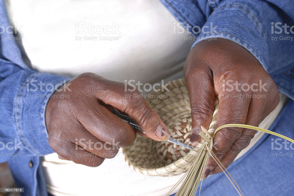 Sweetgrass Basket Weaving stock photo