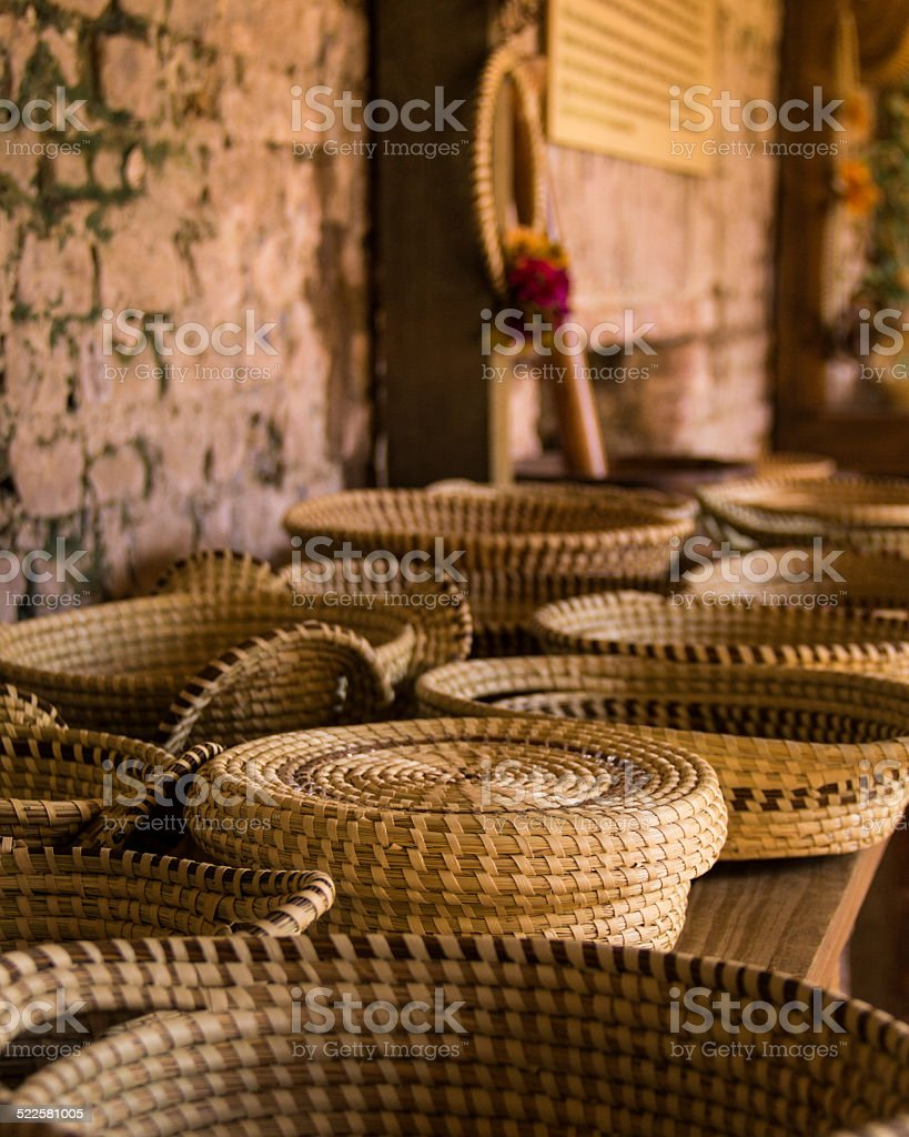 Sweetgrass Baskets on  Table stock photo