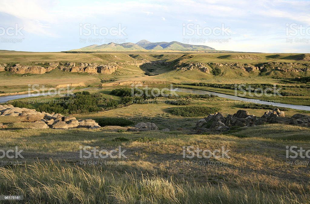 Sweetgrass Hills and Davis Coulee stock photo