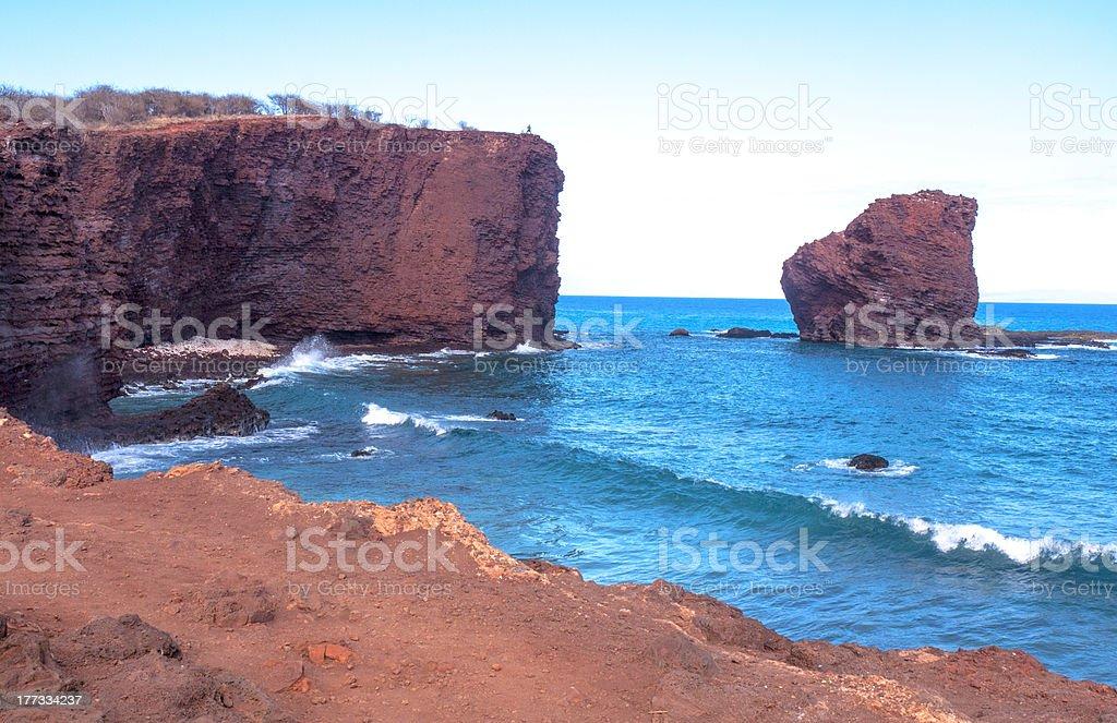 Sweetheart Rock, Lanai, Hawaii stock photo