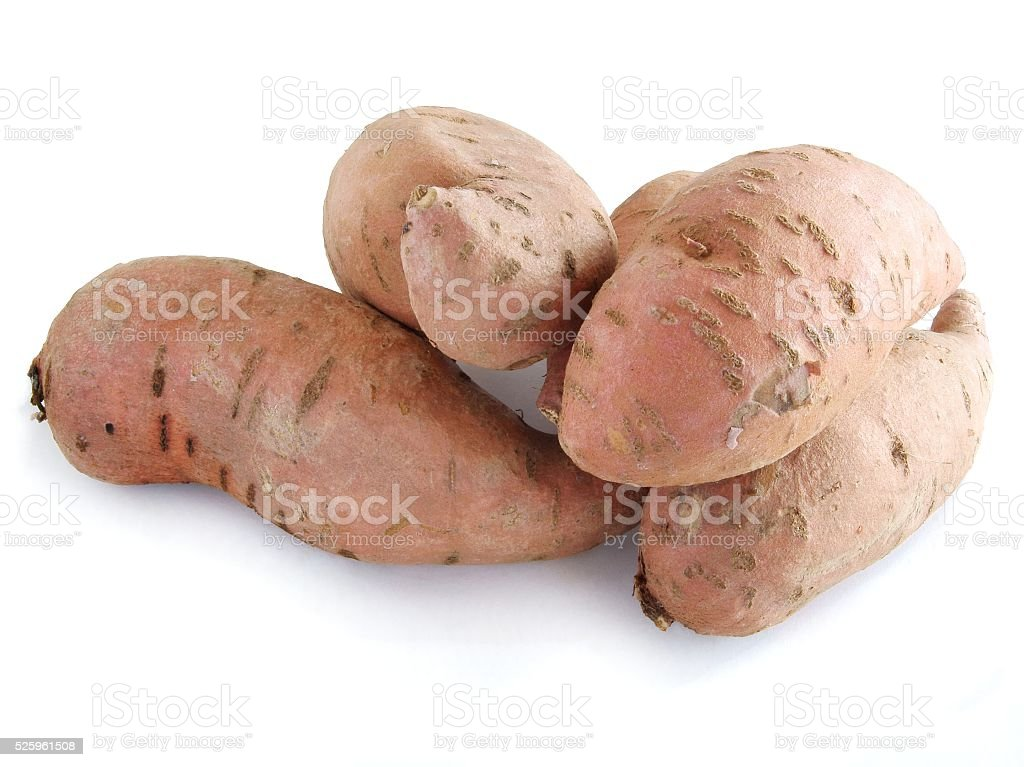 sweet,pink potatoes batatas stock photo