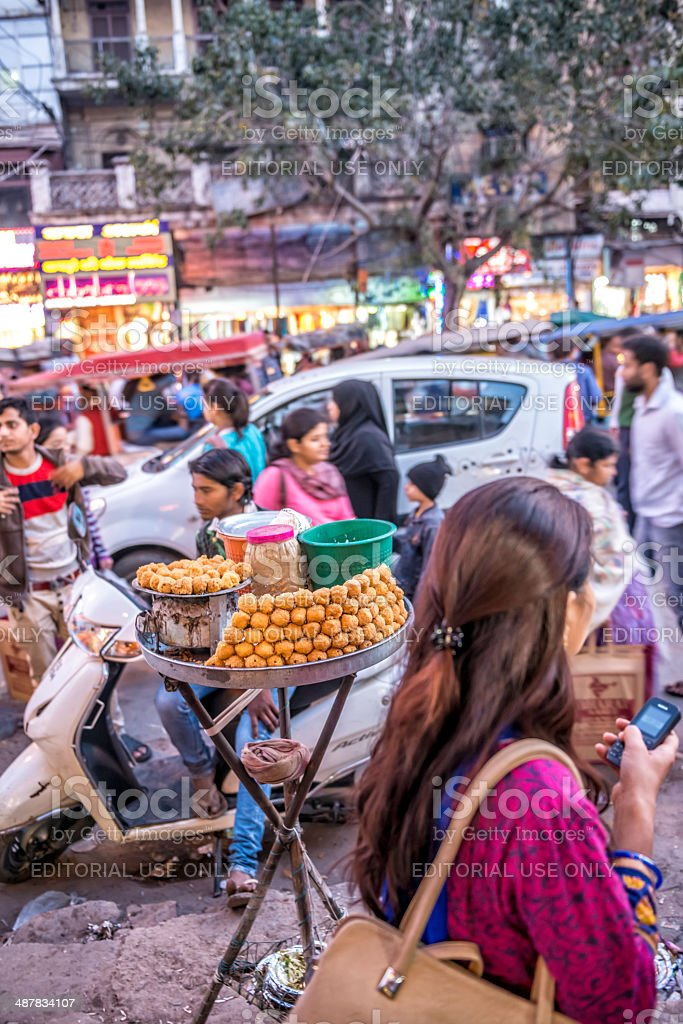 Sweets for sale at the busy Old Delhi spice market stock photo