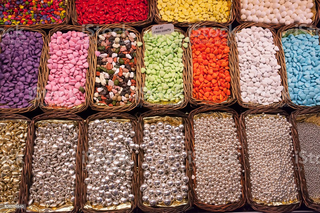 sweets, jelly beans of different colors stock photo