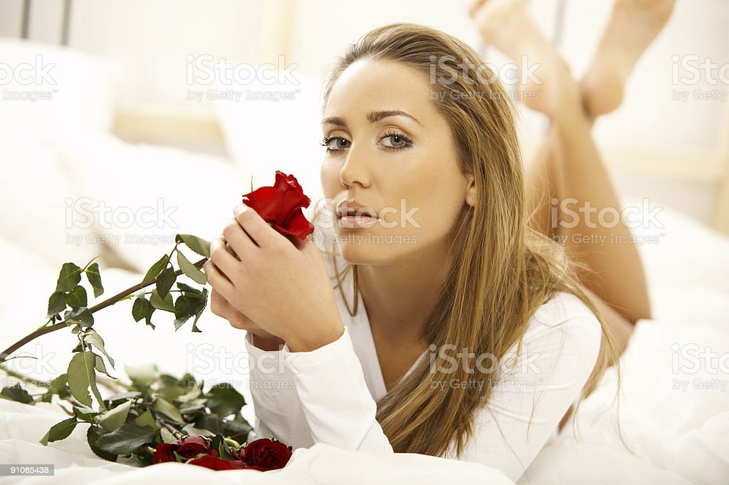 Sweety on bed royalty-free stock photo