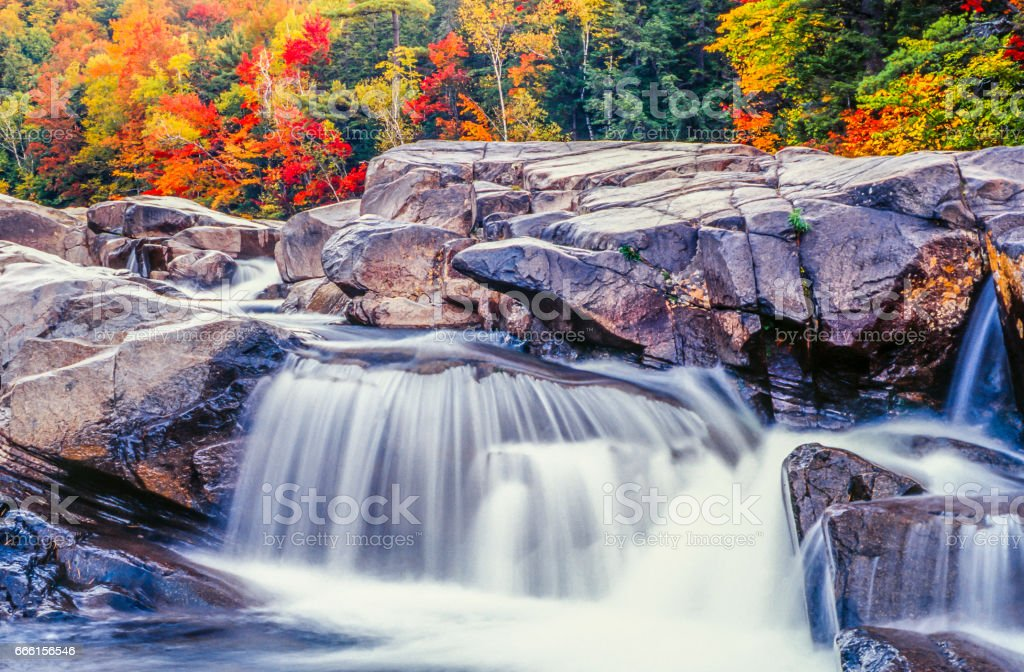 Swift river in Autumn White Mountains, New Hampshire stock photo