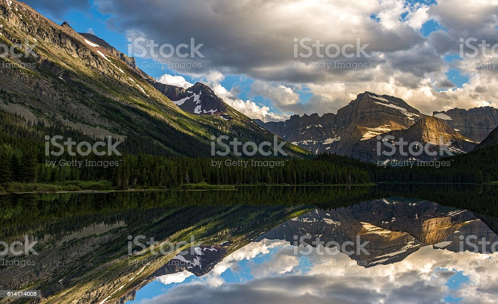 Swiftcurrent Lake and Reflection stock photo