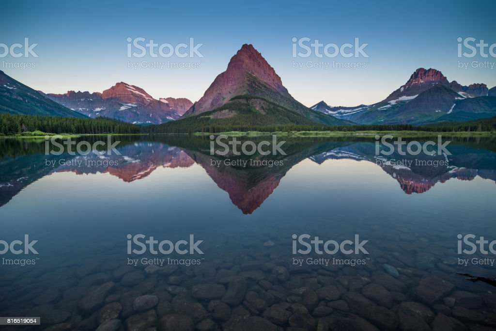 Swiftcurrent Lake at Dawn stock photo