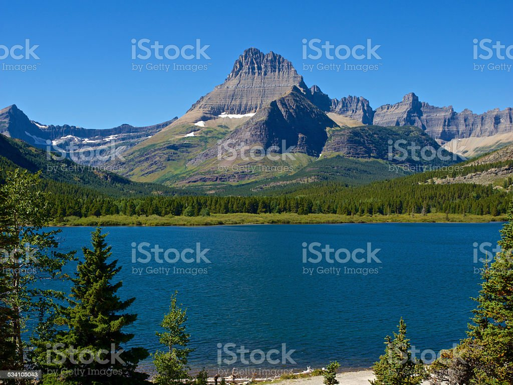 Swiftcurrent Lake Glacier National Park Many Glacier Region stock photo