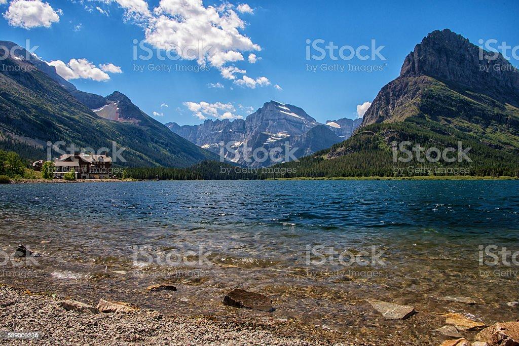 Swiftcurrent Lake, Glacier National Park, Montana stock photo