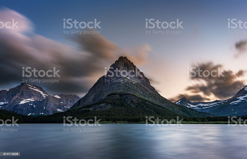 Swiftcurrent Lake Glacier National Park stock photo