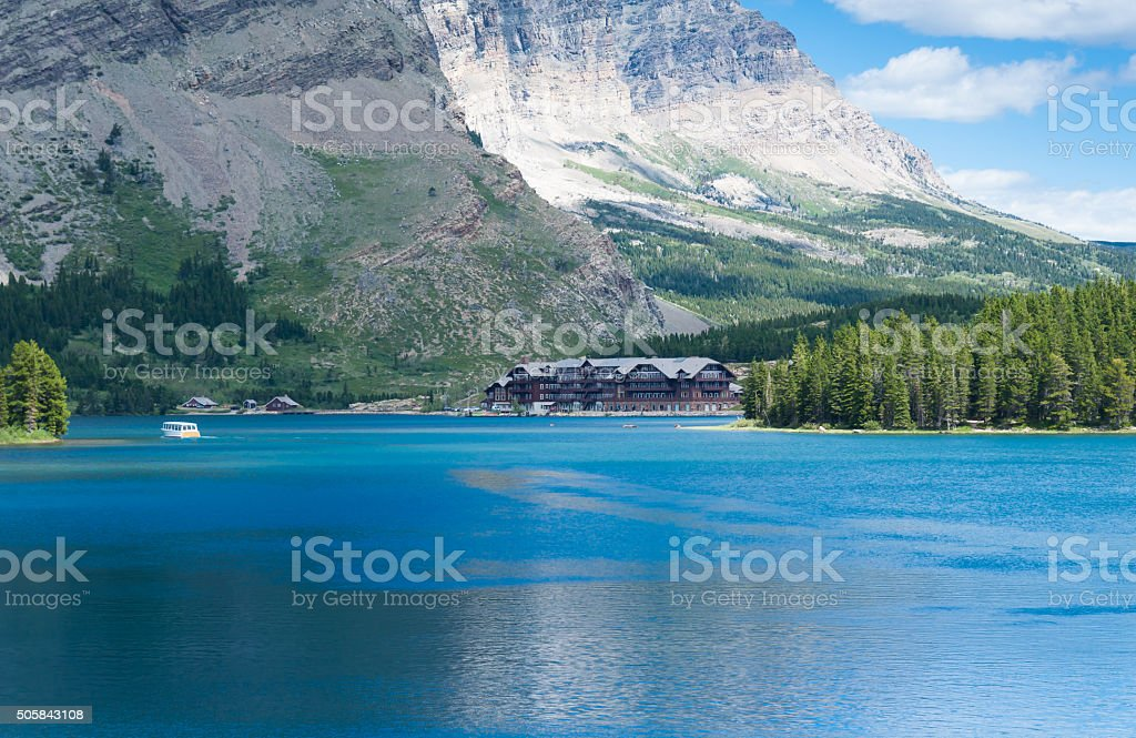 swiftcurrent lake in Glacier National Park stock photo